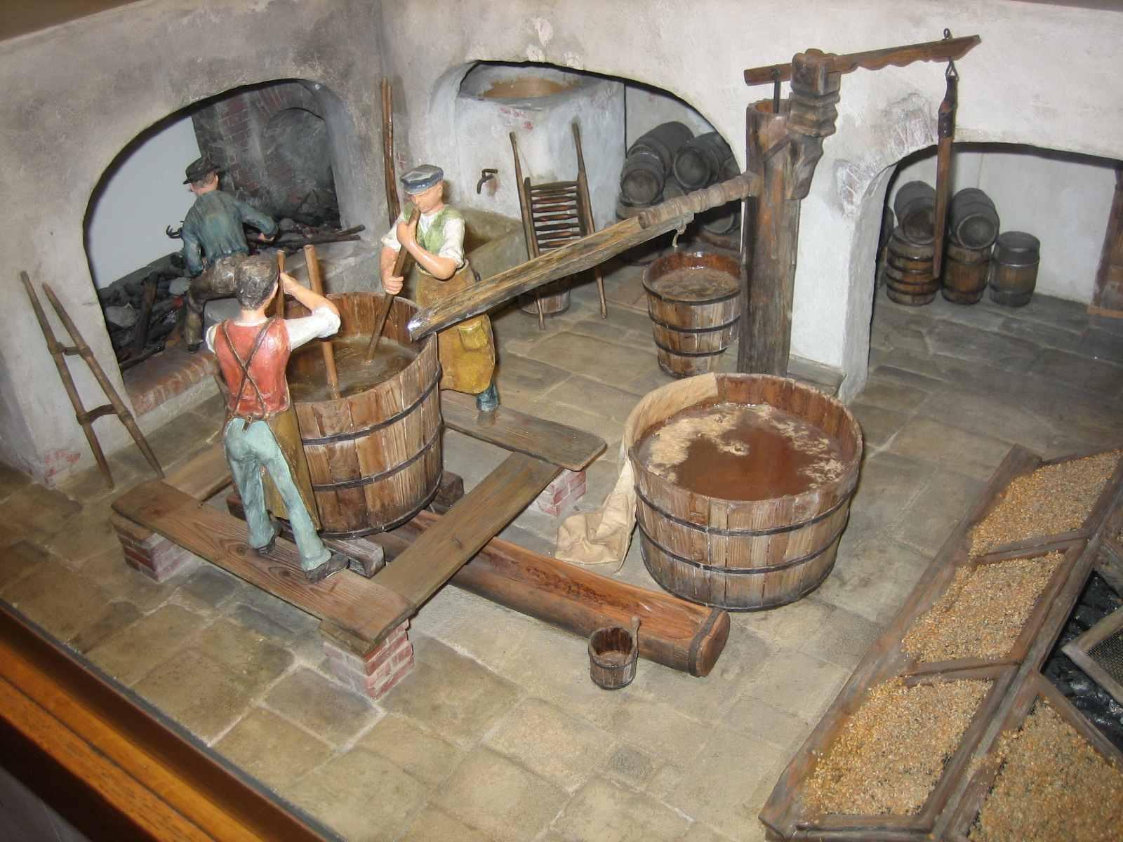 Diorama einer Steinbierbrauerei im Deutschen Museum, München