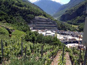 Weinberge und Autobahnbau nahe Visp